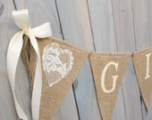 GIFTS lace burlap banner - Wedding Banner - Gifts Sign - lace wedding garland