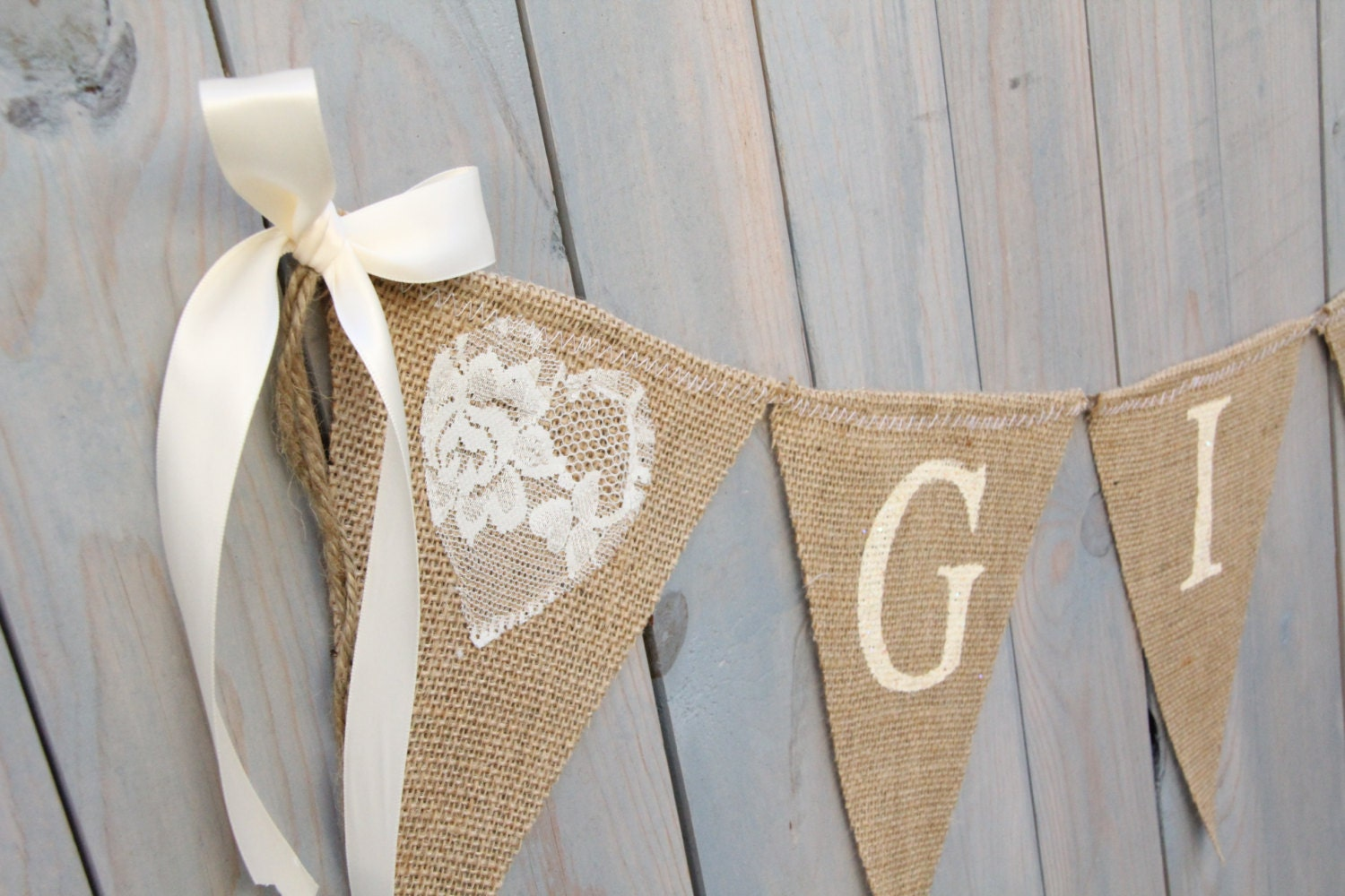 GIFTS Lace Burlap Banner Wedding Banner Gifts By