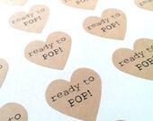 Ready to Pop! stickers - 24 - 1 1/2 inch heart sticker sheets - brown kraft heart stickers - baby shower envelope seals