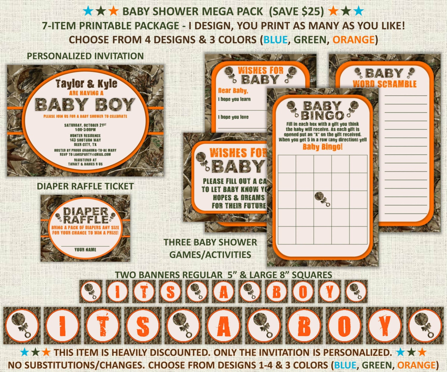 camo baby boy shower invitation package mega pack 7 item