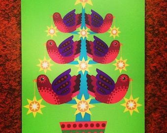 5 Christmas cards - Illustrated Bird Tree