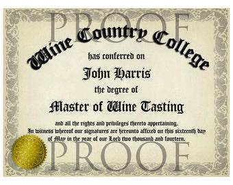 Humorous Graduation Diploma Horizontal Wine Label or Digital File Custom & Personalized Available