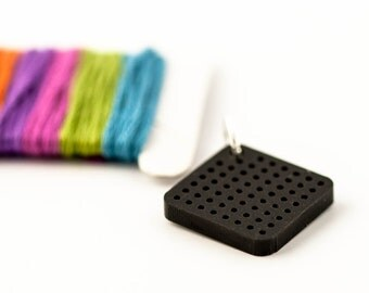 DIY Cross Stitch Necklace - Black Acrylic Pendant Blank - Small Diamond