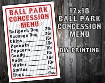 PERSONALIZED - Baseball Themed Birthday Party Menu - Concession Stand - Party Printable Sign - DIY Printing