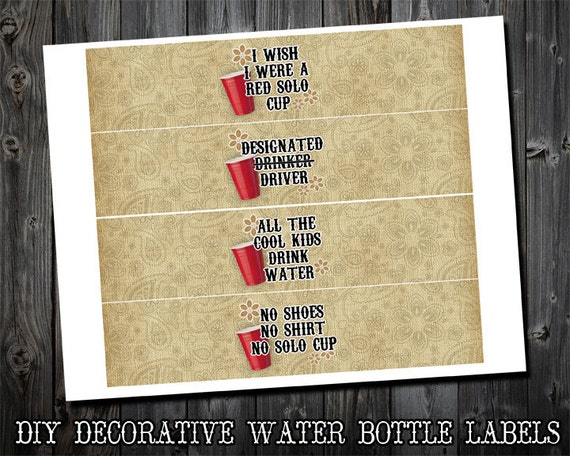 The red solo cup collection decorative water bottle label for Decorative labels for printing