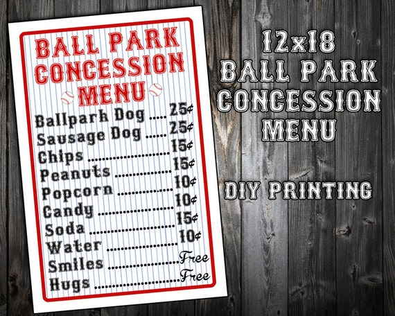 Personalized Baseball Themed Birthday Party Menu
