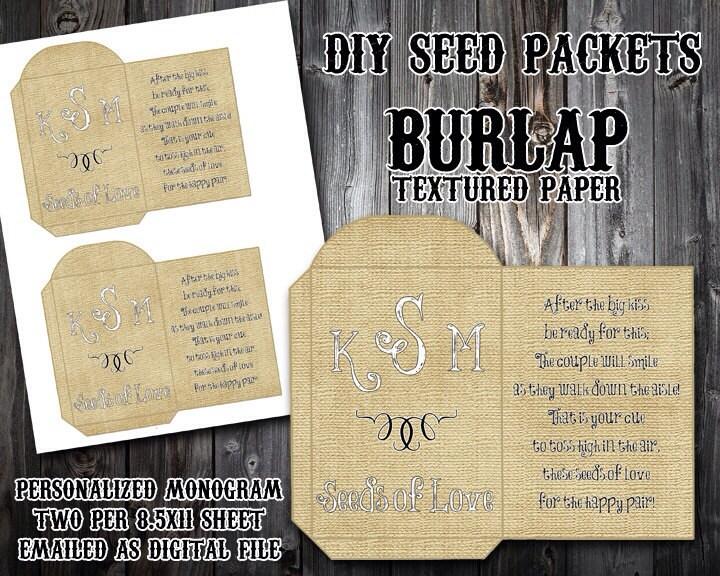 custom monogram burlap diy seed packet printable wedding