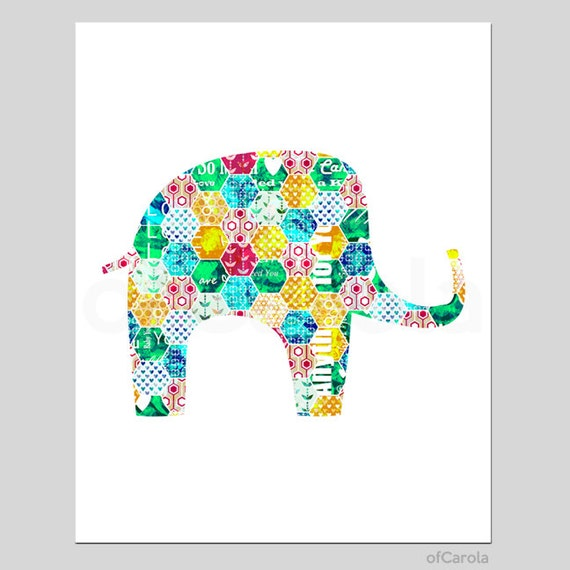 Items Similar To Elephant Print Wall Art Colorful Home Room Decor Artsy Silhouette Shape