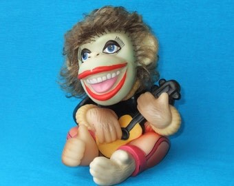 Vintage Toy Monkey with a Guitar, Smilling Rubber Monkey, Happy Toy