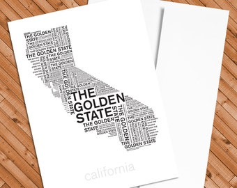 California: The Golden State - 5x7 notecard with A6 envelope