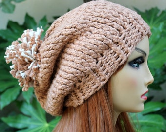 Hand Knit, 100 Percent Organic Cotton, Soft, Nubby, Light Brown, Slouchy, Beanie Hat with Large, Shaggy, Tan, Light Brown, and Cream Pom Pom