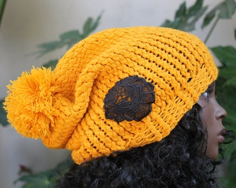 Hand Knit, Golden Yellow, Acrylic, Over Sized, Slouchy, Beanie Hat with Large, Shaggy Pom Pom and Black, Lace, Rose Applique Woman