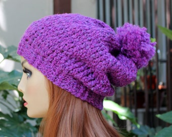 Hand Knit, Plum Purple, Slouchy, Acrylic, Beanie Hat  with Two Inch Headband and a Large, Shaggy Pom Pom for Women or Men, Fall, Winter