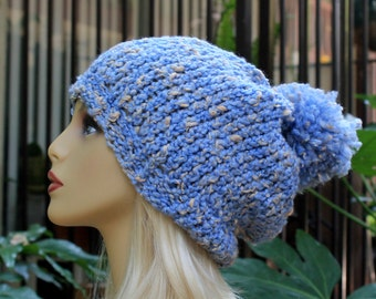 Hand Knit, Light Blue, Cream, Acrylic/Polyester/Cotton, Slouchy, Beanie Hat with Two Inch Headband and Large, Shaggy Pom Pom Woman Man