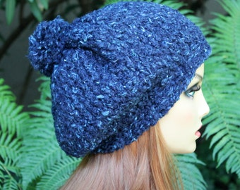 Hand Knit, Wool/Acrylic, Dark Teal with Light Aqua Flecks, Slouchy Beanie Hat with Two-Inch Headband Medium Pom Pom Women Men Back to School
