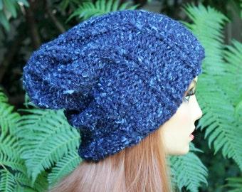 Hand Knit, Wool/Acrylic, Dark Teal with Light Aqua Flecks, Slouchy, Rib Knit, Beanie Hat for Women,  Men Fall, Winter,  Back to School