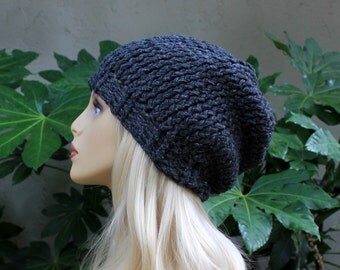 Hand knit, Acrylic/Polyester, Charcoal Grey, Slouchy, Beanie Hat for Women or Men, Fall, Winter, Back to School