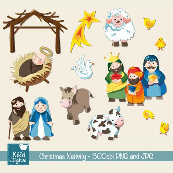 SALE Christmas Nativity Digital Clipart / Scrapbook card