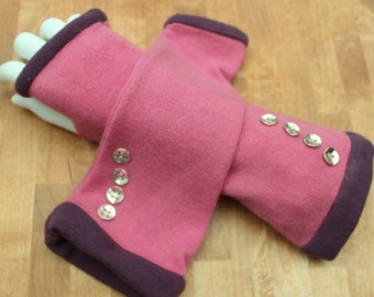 Pink and plum cashmere fingerless gloves