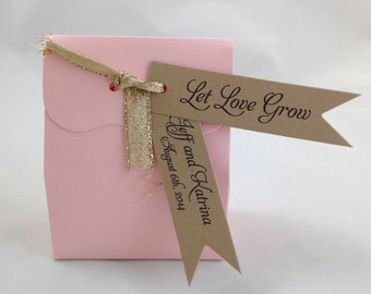 Let Love Grow! Pennant Flag Wedding Favor Tags - Kraft Brown Personalized Tags