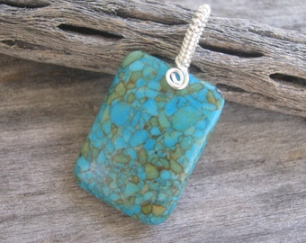Mosaic Pendant Necklace, Turquoise Magnesite Pendant, Rectangular Pendant, Minimalist Necklace, Blue Gemstone, Wire Wrapped, READY To SHIP