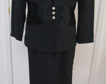 Black crepe long formal sheath dress and jacket with rhinestone buttons