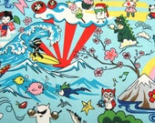Kawaii Japanese Anime Fabric in Surf Ninja, Blue, by the yard