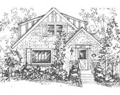 """Custom House Portrait, Your House drawn in Ink, 11""""x 14"""" home portrait, Architectural sketch of house or cottage"""