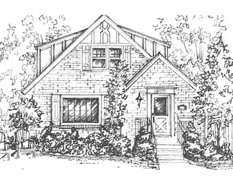 "Custom House Portrait, Your House drawn in Ink, 11""x 14"" home portrait, Architectural sketch of house or cottage"