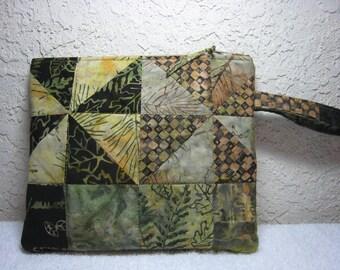 Pine Islands  Batik Quilted Wristlet