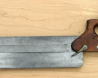 Antique HENRY DISSTON & Sons Very Rare 1920s Fine Duplex Back Saw No. 14 From Stickley Furniture Craftsman