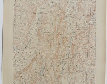 Antique Fine NEW YORK Map, Clove New York, Sherman, Kent & Connecticut  Surrounding Areas Antique 1912 US Geological Survey Topographic Map