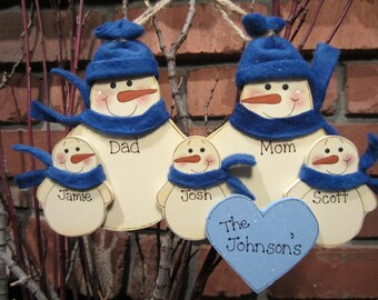 Family of 5: Personalized Fleece Snowman Ornament
