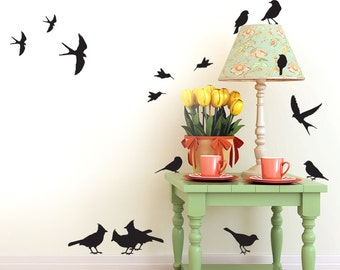 Woodland Nursery Decor | 24 Wall Decal Birds | Hummingbird Decals | Cardinals, Swallows, Bird Decals | Bird Silhouettes Nature Decor