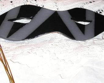 Black Ceramic  Art  Mask......Signed Wall Art .....Ready to Hang ...... Venetian Masks .....MC1