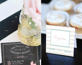 Instant Download - Sweet Chalkboard Baby Shower Party Printables