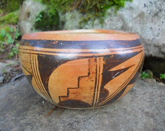 Stunning Vintage Southwestern Hopi Acoma Polychrome Pueblo Pottery Bowl Antique Clay Pottery Hand Thrown Native American Pot