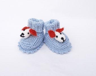 Handknitted Cute Baby Booties, Doggy Booties, Blue Booties, UK Seller