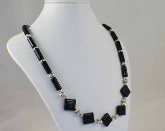Black and silver bib necklace diamond shaped beaded necklace