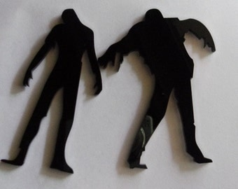 Zombies, cupcake toppers, zombie ornament, zombie pendants, laser cut charms