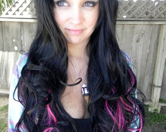 HALLOWEEN SALE / Black and Pink / Long Curly Layered Wig Mermaid Hair Lolita Natural Scalp Piece