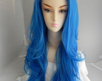 Oceanic / Blue / Long Wavy Lace Front Wig Full Body Curly Heat Safe Durable for Daily Use, Halloween Costumes