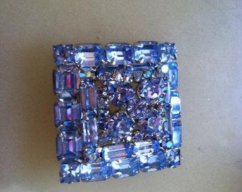 Vintage blue crystal rhinestone signed designer  bridal wedding Weiss  mad men brooch pin summer wedding free shipping
