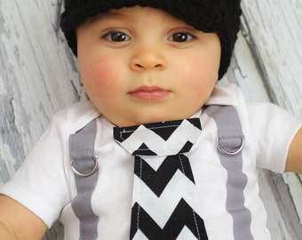 Baby Boy Tie Bodysuit or Shirt with Suspenders - Black and White Chevron Print - Photo Prop, Little Man, Fathers Day