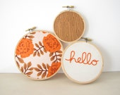 """Embroidery Hoop Wall Art Home Decor Set of 3 - """"hello"""" in pumpkin rust orange fall autumn roses floral cream rustic woodland"""
