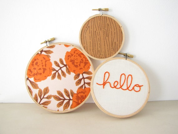 "Embroidery Hoop Wall Art Home Decor Set of 3 - ""hello"" in pumpkin rust orange fall autumn roses floral cream rustic woodland"