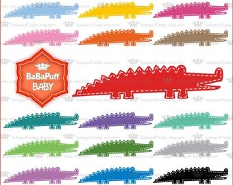Buy 2 Get 2 Free ---- Digital Baby Crocodile Clip Art ---- Personal and Small Commercial Use ---- BB 0706