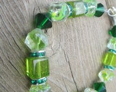 Green Goddess Bracelet - Mixture of Shapes and Sized of Green Glass Beads