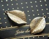 10 pcs alloy  gold   plating leaf  pendant finding