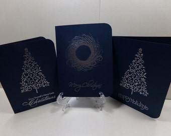 Silver Embossed Christmas Card Trio